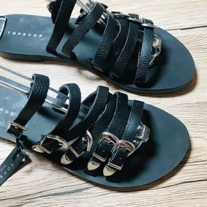 NWT Topshop Heston Buckles Flat Slide Sandals